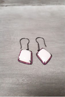 Earring Big Stone Pink