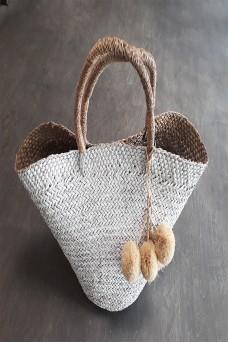 Natural Bag Big With Pom Pom