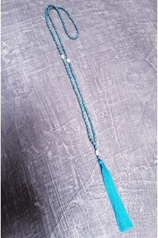 Necklace Rezin Pearl wt Tassel Blue