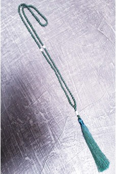 Necklace Rezin Pearl wt Tassel Green