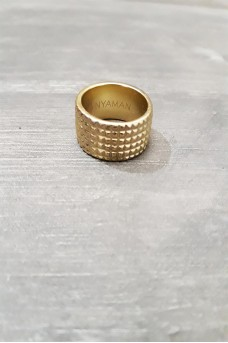 Gear Ring 3 Line in Gold Plated