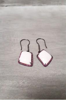 Earring Big Stone Pink