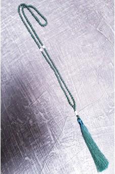 Necklace Rezin Pearl wt Tassel Green