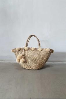 Natural Bag Big wt Pom Pom