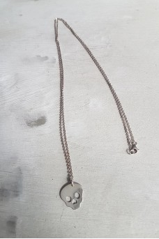 Necklace Silver Chain with Big Skull